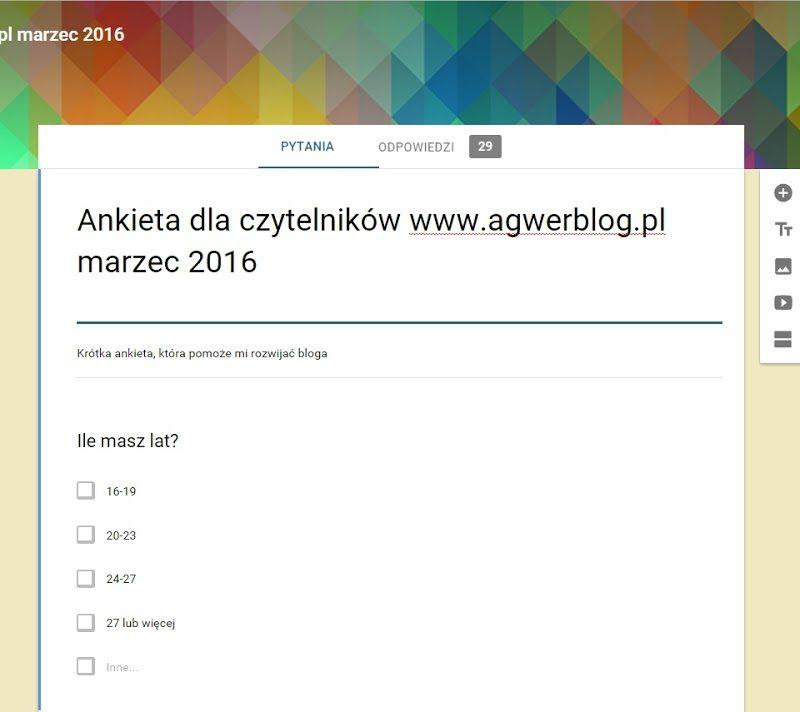 Ankieta dla czytelników bloga, marzec 2016