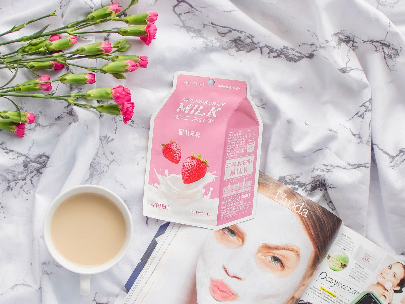 Maseczka rozjaśniająca | A'pieu Strawberry Milk