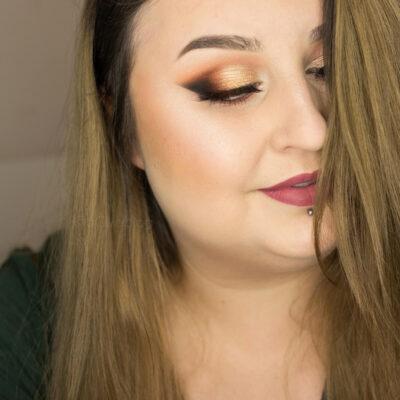Brązowy makijaż wieczorowy ze złotem