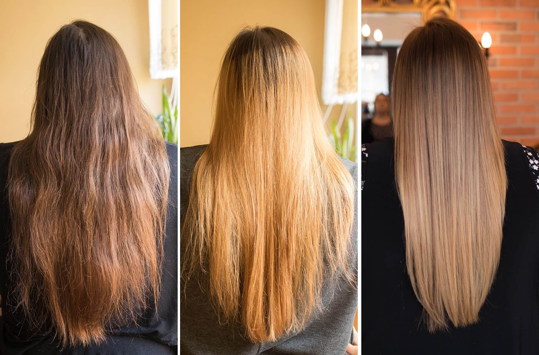 metamorfoza moich włosów przed i po