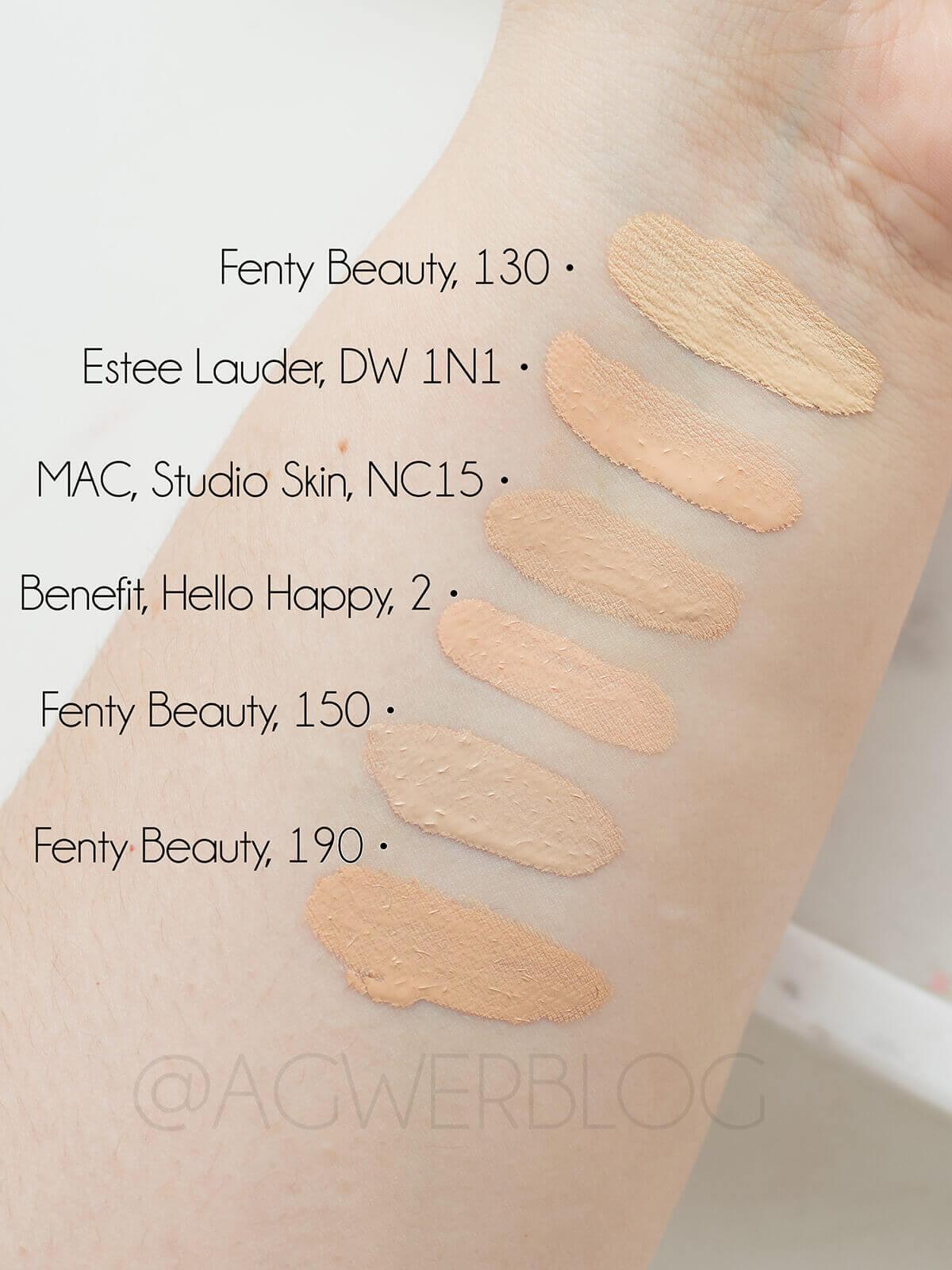 fenty beauty pro filt'r foundation swatches