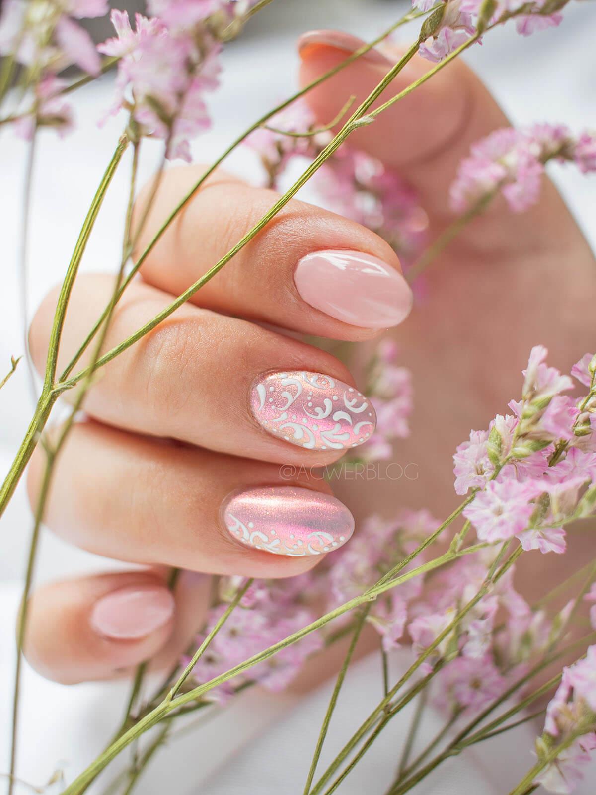 ślubne paznokcie koronka
