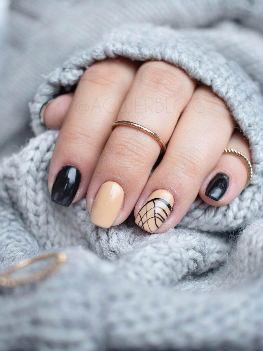 czarne paznokcie wzorek