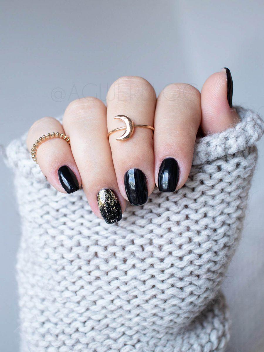czarne paznokcie do pracy