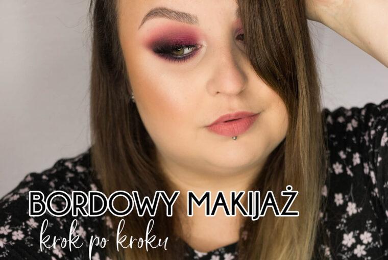 bordowy makijaż