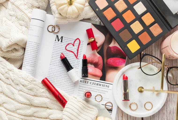 makijaż z czerwonymi ustami